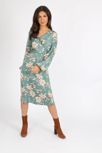 Green Satin Floral Crossover Midi Dress