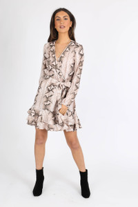 Stone Snake Print Ruffle Wrap Mini Dress