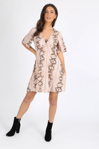 Stone Snake Print Tie Front Babydoll Dress