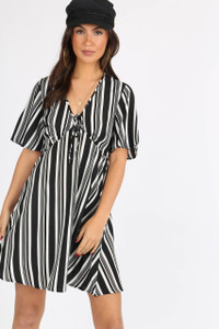 Mono Stripe Tie Front Babydoll Dress