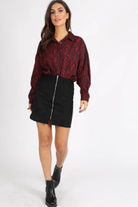 Wine Snake Print Button Down Oversized Shirt