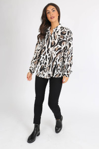 Animal Print Button Down Oversized Shirt