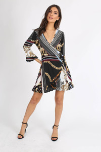 Multi Chain Printed Ruffle Hem Mini Dress