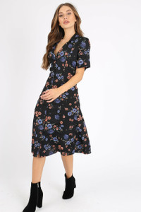 Black Floral Revere Collar Button Down Midi Dress