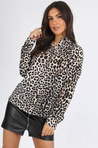 Leopard Print Long Sleeve Button Down Shirt