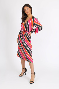 Multi Satin Stripe Self Tie Belt Midi Dress