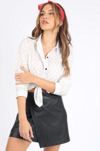Black PU Leather Asymmetric Wrap Skirt