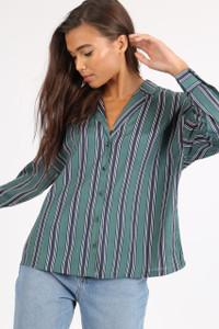 Green Stripe Revere Collar Shirt