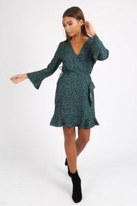 Green Polkadot Ruffle Wrap Mini Dress