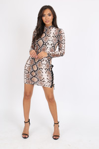 Snake Print Bodycon Lace Up Dress