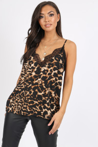 Leopard Print Lace Detail Cami Top