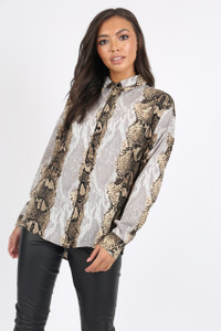 Snake Print Button Detail Shirt