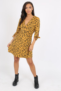 Mustard Animal Print Wrap Dress