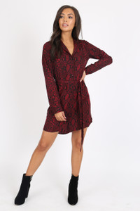 Wine Snake Print Button Detail Shirt Dress