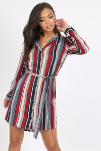 Multi Stripe Button Detail Shirt Dress