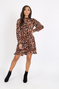 Leopard High Neck Wrap Mini Dress