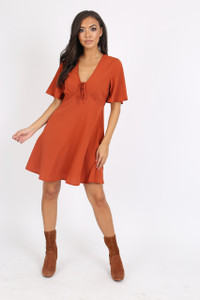 Rust Tie Front Babydoll Dress