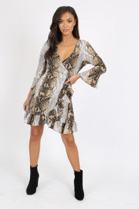 Snake Print Ruffle Hem Mini Dress