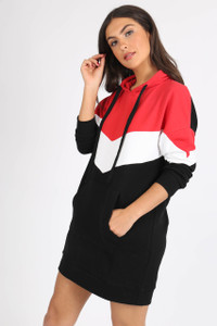 Sports Chevron Colour Block Jumper Dress