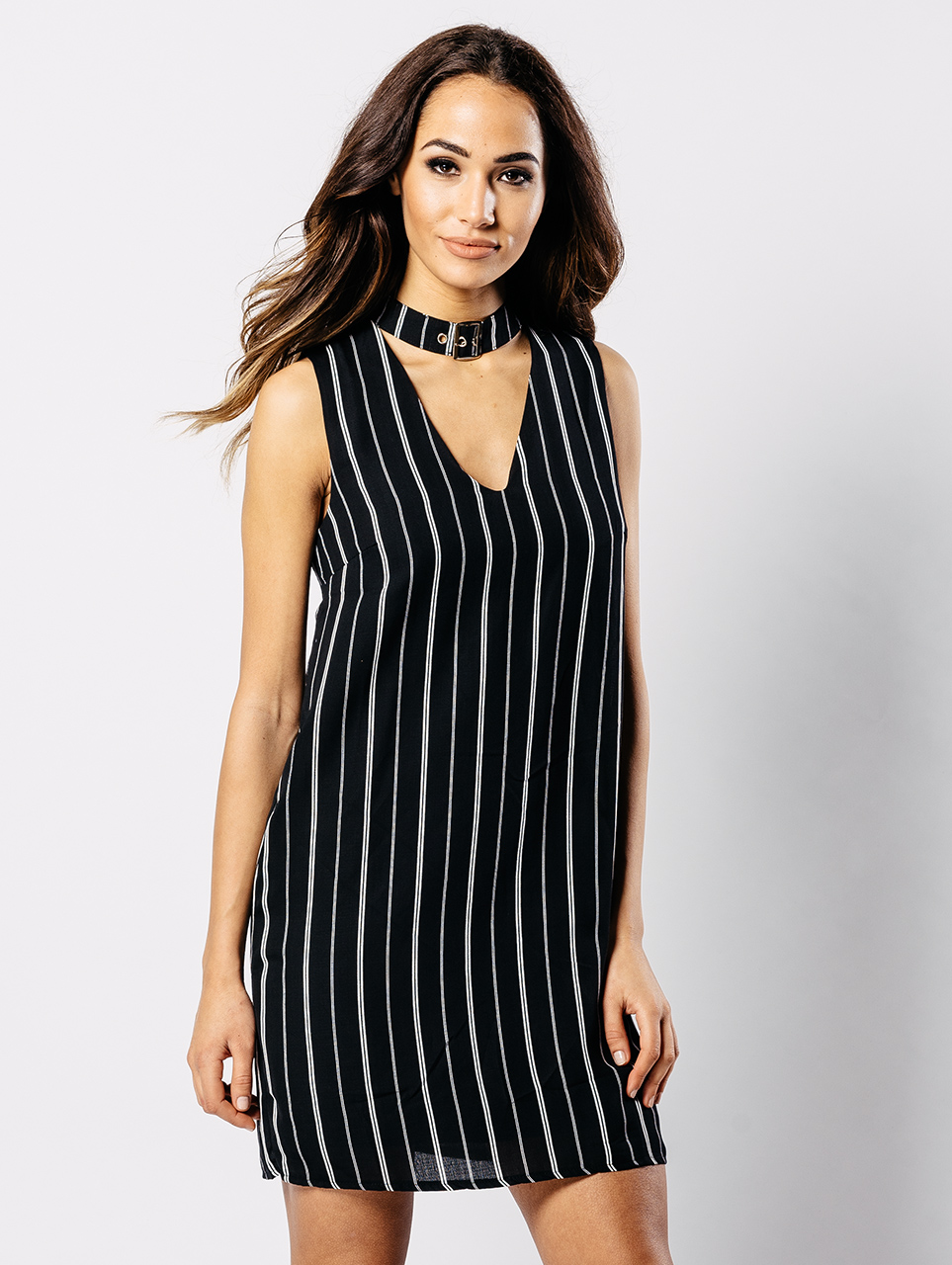 Black Buckle Choker Cocktail Dress Dress