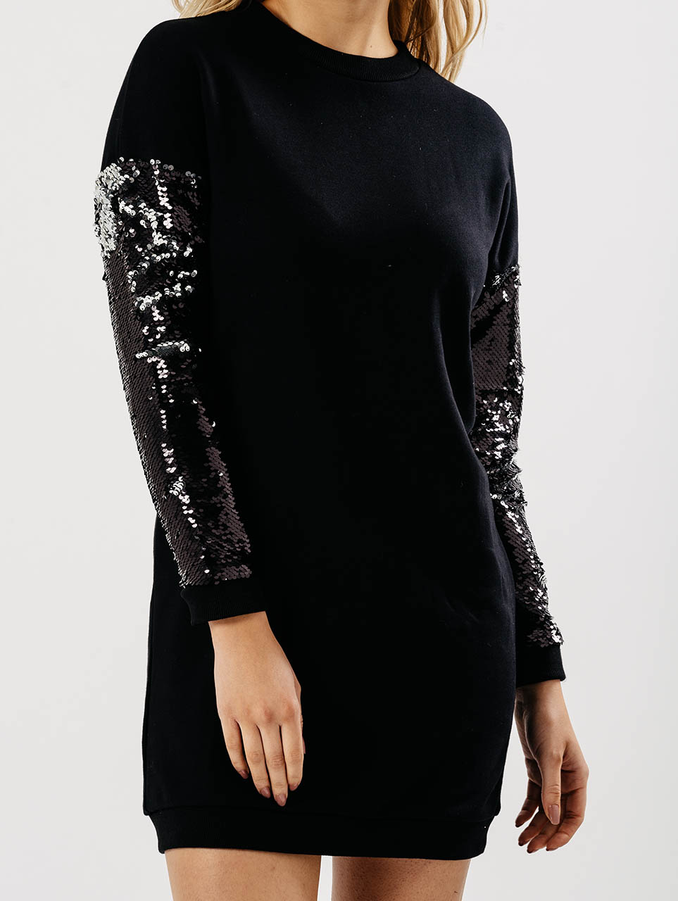 Black Oversized Jumper Dress With Sequin Sleeves L -5099