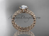 "14k rose gold diamond wedding ring, engagement set with a ""Forever One"" Moissanite ADLR34S"