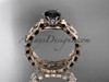 14k rose gold diamond vine and leaf wedding ring, engagement set with a Black Diamond center stone ADLR35S