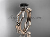 14k rose gold diamond leaf and vine wedding ring,engagement ring with a Black Diamond center stone ADLR353