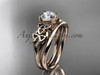 "14kt rose gold celtic trinity knot wedding ring, engagement set with a ""Forever One"" Moissanite center stone CT7169S"