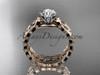14k rose gold diamond vine and leaf wedding ring, engagement set ADLR35S