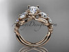 "14kt rose gold celtic trinity knot engagement ring , wedding ring  with ""Forever One"" Moissanite center stone CT769"