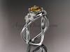 14kt white gold diamond leaf and vine birthstone ring ADLR90 Citrine November\'s birthstone. nature inspired jewelry