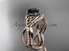 14kt rose gold celtic trinity knot engagement set, wedding ring with a Black Diamond center stone CT790S