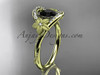 14kt yellow gold diamond unique engagement ring with a Black Diamond center stone ADLR166