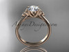 "14kt rose gold celtic trinity knot wedding ring with a ""Forever One"" Moissanite center stone CT7154"