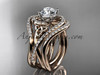 """14kt rose gold diamond celtic trinity knot wedding ring, engagement ring with a """"Forever One"""" Moissanite center stone and double matching band CT7320S"""