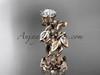 14k rose gold diamond leaf and vine engagement ring, engagement set ADLR20S