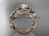 14kt rose gold diamond celtic trinity knot wedding ring, engagement ring with a  double matching band CT7211S