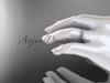 14k white gold wedding ring, engagement ring, wedding band ADLR34B