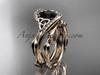 Celtic Black Diamond Rose Gold Bridal Wedding Sets CT764S