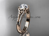 "14kt rose gold celtic trinity knot engagement ring ,diamond wedding ring with a ""Forever One"" Moissanite center stone CT7108"