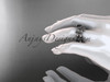 14k white gold diamond leaf and vine wedding ring, engagement ring, engagement set with a Black Diamond center stone ADLR213S