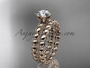 14k rose gold diamond wedding ring, engagement set ADLR34S
