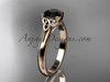 14kt rose gold celtic trinity knot wedding ring with a Black Diamond  center stone CT7154