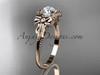 Moissanite Rose Gold Black Diamond Bow Bridal Ring ADLR376