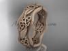 14kt rose gold celtic trinity knot wedding band, matte finish wedding band, engagement ring CT7504G