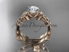 "14kt rose gold celtic trinity knot wedding ring, engagement set with a ""Forever One"" Moissanite center stone CT7238S"
