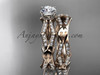 14k rose gold diamond leaf and vine wedding ring, engagement set ADLR353S