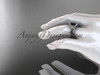 14kt white gold diamond unique engagement set with a Black Diamond center stone ADLR166S