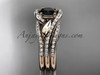 14k rose gold diamond leaf  wedding ring with a Black Diamond center stone and double matching band ADLR317S